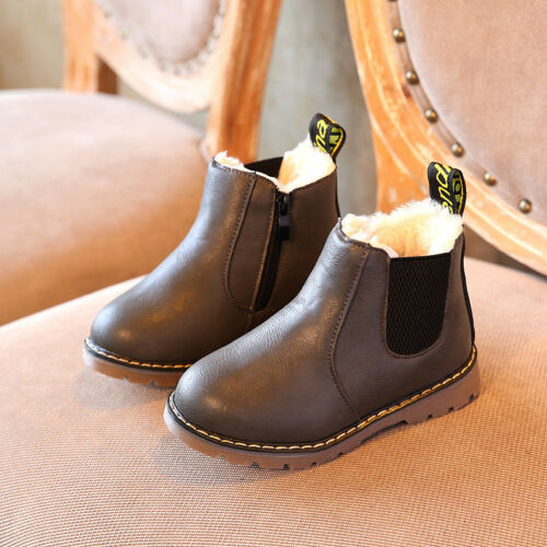 Child Kids Boys Girls Martin Warm Fur Lined Shoes Ankle Boots Chelsea Shoes Size