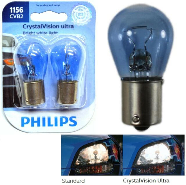 Philips Crystal Vision Ultra Light 1156 27W Two Bulbs Stop Brake Rear Plug Play