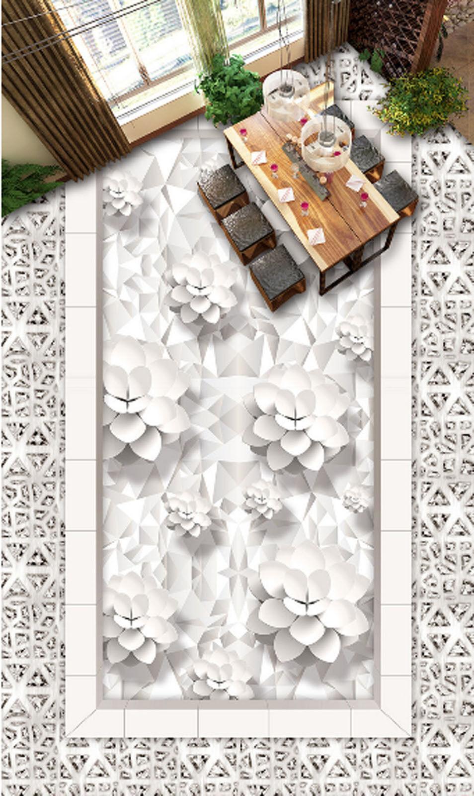 3D Weiß Lotus Art 584 Floor WallPaper Murals Wallpaper Mural Print AJ AU Lemon