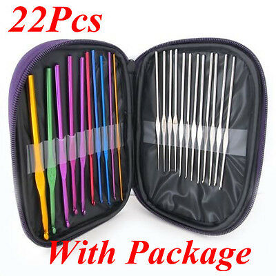 22pcs Multi-colour Aluminum Crochet Hooks Knitting Needles Set  Weave Craft Case