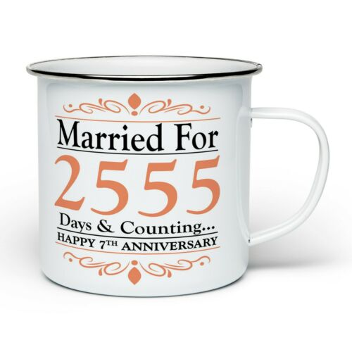 Enamel Tin Gift Mugs 1st-70th Pair of Married for Days /& Counting Anniversary