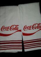 Item 8 COCA COLA LOGO SODA COKE EMBROIDERED KITCHEN TOWEL SET 2   WHITE  MAROON STRIPE   COCA COLA LOGO SODA COKE EMBROIDERED KITCHEN TOWEL SET 2    WHITE ...