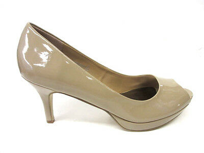 Venta señoras de punto en Peep Toe TALÓN MEDIADOS sintéticas Tribunal de patentes Zapatos f10038