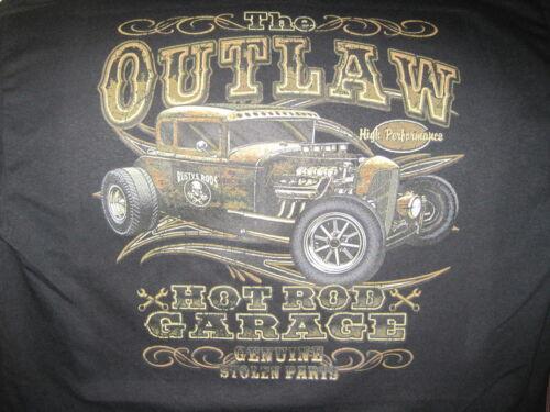 OUTLAW GARAGE HOT ROD RAT ROD SPEED SHOP STOLEN PARTS HOODIE L TO 4X BLACK
