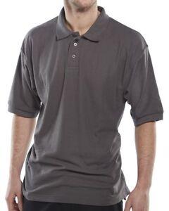 Click-Grey-Mens-Polycotton-Short-Sleeve-Pique-Polo-Shirt-Collar-Work-Club-Sport