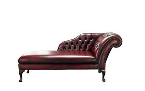 Handmade-Chesterfield-Genuine-Leather-Chaise-Lounge-Day-Bed-Antique-Oxblood