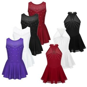 Girls-Figure-Ice-Skating-Dress-Sparkly-Ballet-Dance-Leotard-Gymnastics-Costume
