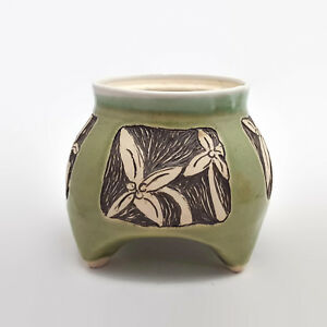 Green-Crackle-Glaze-Footed-Floral-Vase-Container-Signed