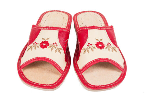 Womens Slippers Eco 100 Mule Sandals Slip On Beach Ladies Cream amp; Leather Red rBarOqwY