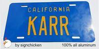 """KNIGHT RIDER TRANS AM """"KARR"""" LICENSE PLATE DAVID HASSELHOFF, KITT, all aluminum"""