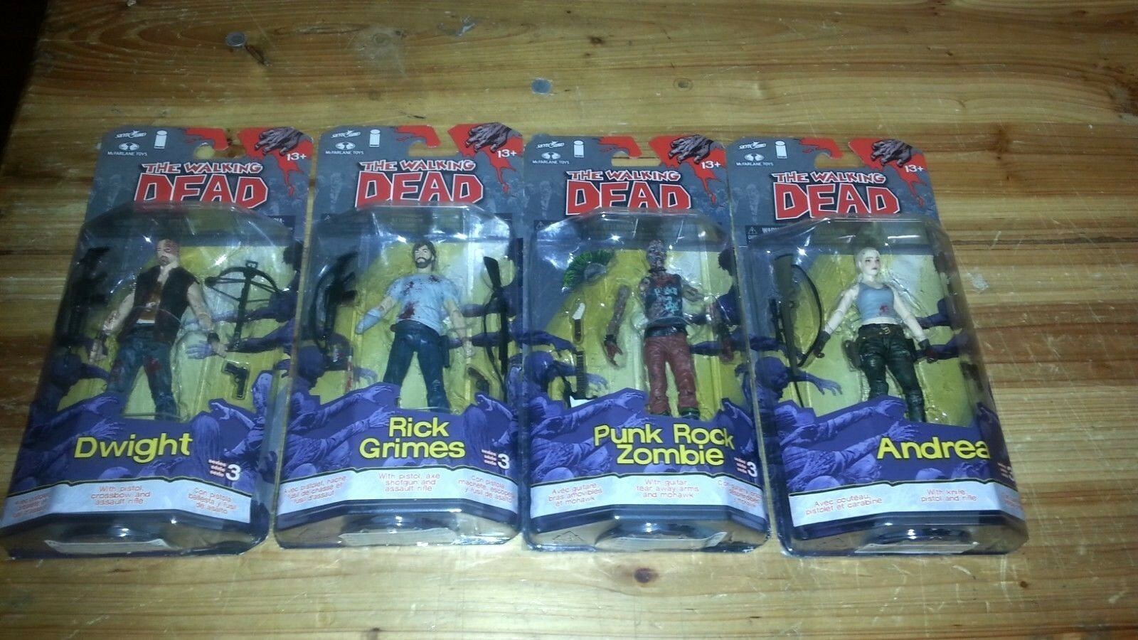 Die Walking Dead Serie 3 Set Rick Grimes-Andrea-DWIGHT-Punk Rock-McFarlane-af1