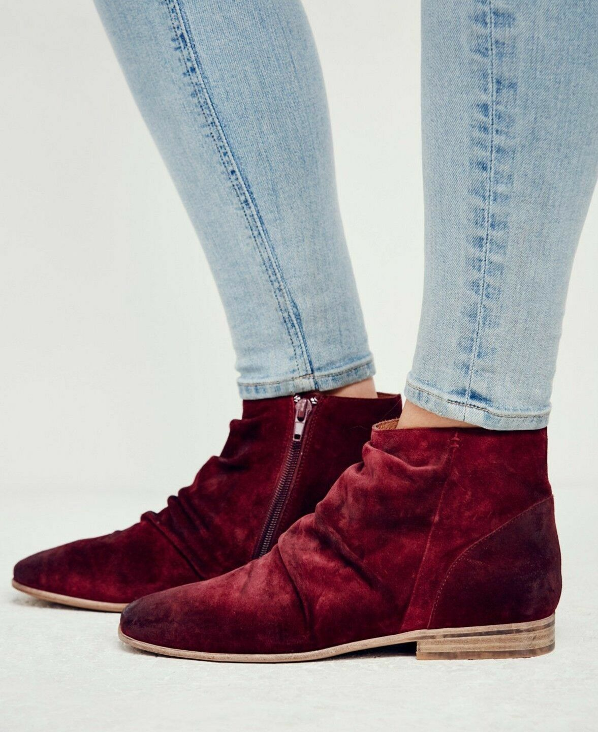 Jeffrey Campbell Speir Ruched Luxe Luxe Luxe Wine Suede Slouchy Ankle bottes Taille 7.5 New 4e291e