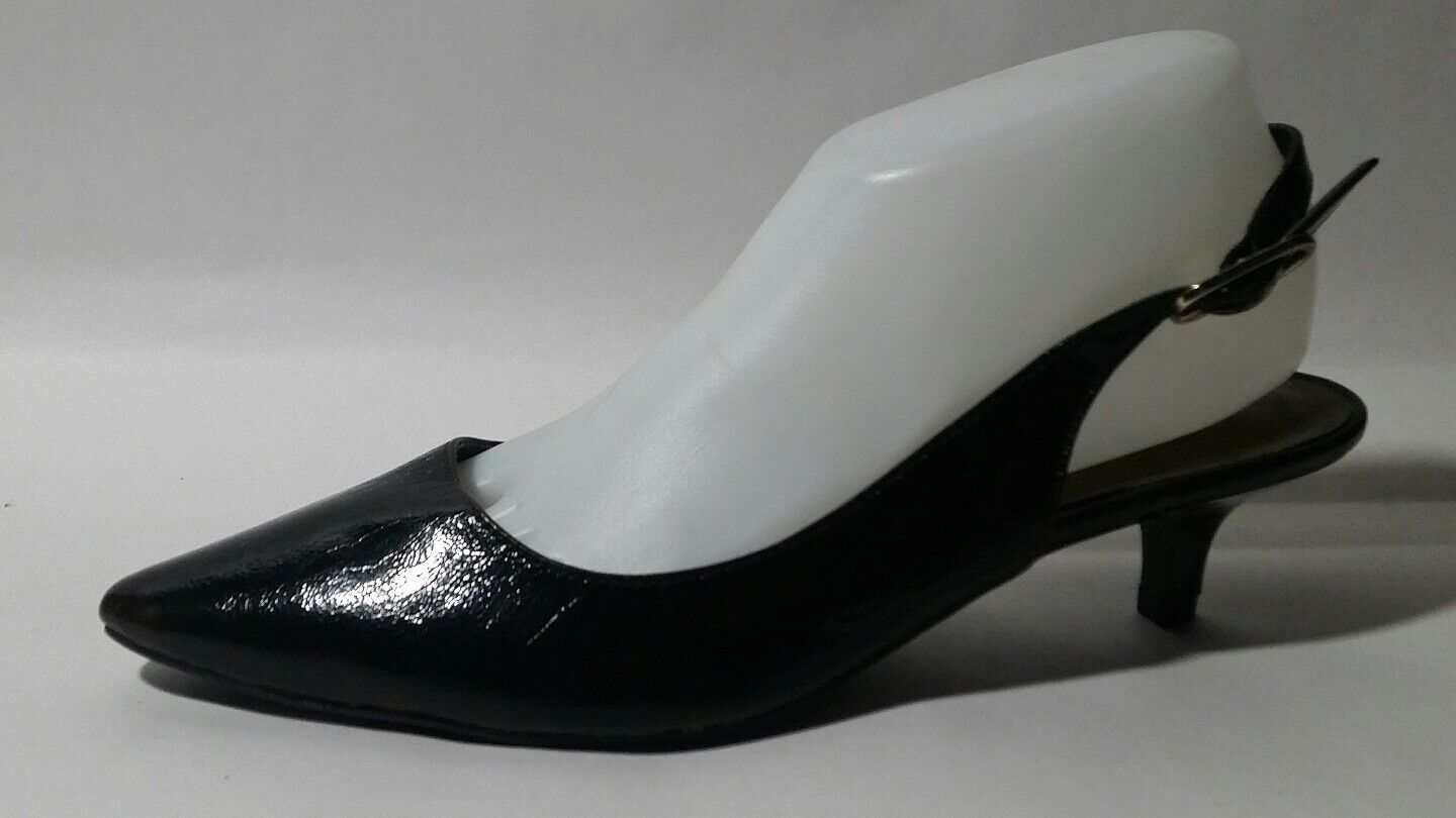 Etienne Aigner Sz 8 M  TERRY  Black Sling Back Kitten 2  Heels Pointy Toe shoes