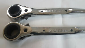 Scaffold-Spanner-Ratchet-Podger-Steel-wrench-10-039-039-19-amp-21mm-Japan-Kobe-Tools