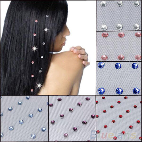 48PCS Fashion New Iron On Jewels Hair Extension Straightener Diamante Gem BAAA