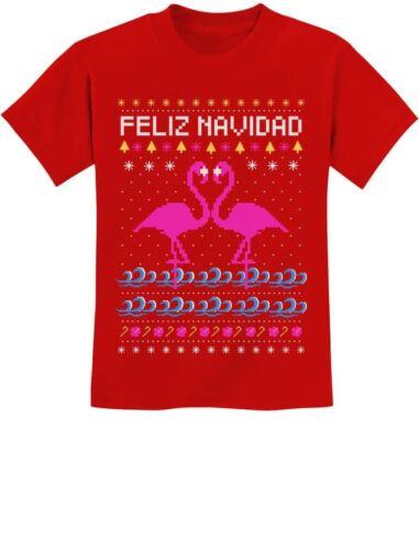 Feliz Navidad Flamingo Ugly Christmas Sweater Jóvenes Niños T-shirt regalo de Navidad