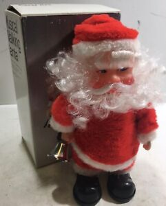 VINTAGE MUSICAL TOY WALKING SANTA CLAUS DOLL PLAYS 3 SONGS RINGS BELL WITH BOX