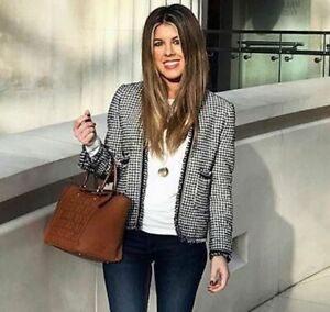 ZARA Tweed effiloché Veste Blazer Taille S M L XL RRP £ 89.99
