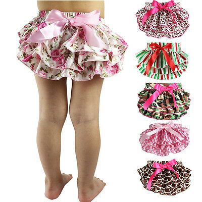 New Baby Girls Cute Ruffle Bloomers Layers Diaper Cover Flower Shorts Skirts