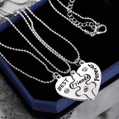 3p/Set BFF Best Friends Forever Broken Heart Silver Pendant Necklace Crstal New