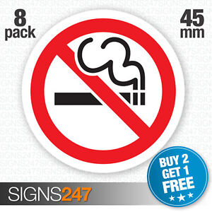 8-x-No-Smoking-Stickers-45mm-waterproof-vinyl-signs-window-car-taxi-van-shop