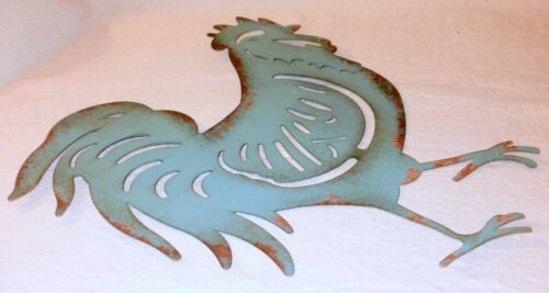 NEW~Distressed Turquoise Sheet Metal Rooster Wall Hanging Farmhouse Chicken