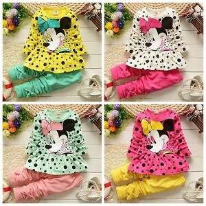 2PCS-Kids-Baby-Girls-Minnie-Cartoon-coat-Tops-pants-Spring-Clothes-Outfits