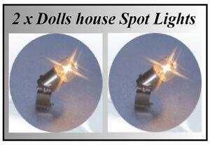 Casa de muñecas en miniatura 2x Ajustable Spot Luces//Bombillas cobertizo Cocina fuera lgw
