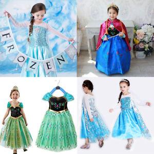 Kids-Girls-Princess-Queen-Elsa-Anna-Halloween-Cosplay-Costume-Party-Fancy-Dress