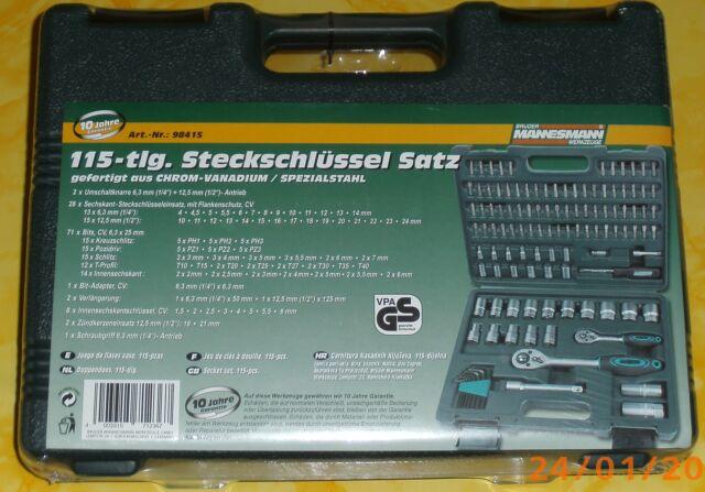 """Steckschlüsselsatz 115-tlg CV, Antrieb 6,3mm/ 1/4"""" + 12,5mm/ 1/2""""  M98415"""