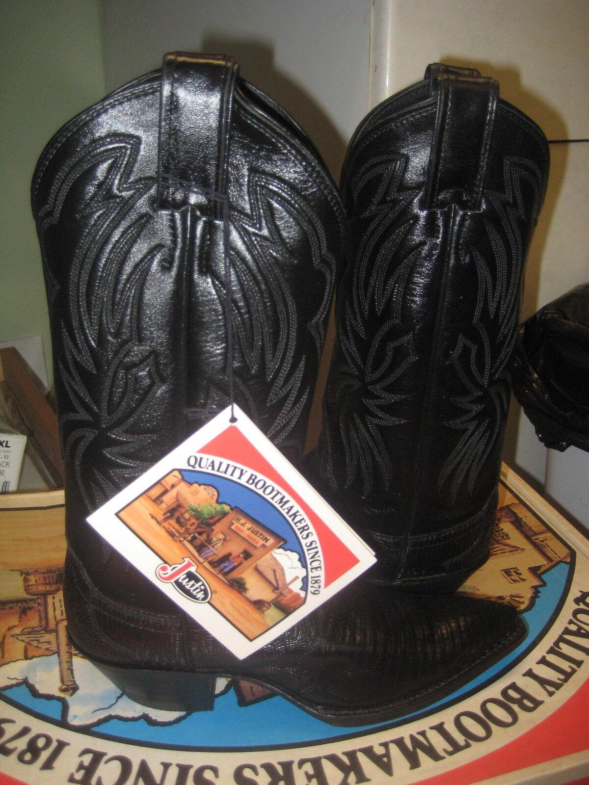 Justin women's Black Iguana Lizard  Leather Western Boot 4756 Size 4.5  New