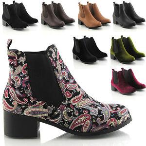 Womens Ladies Girls Low Heel Flat Pixie Short Vintage Chelsea Ankle Boots 8964