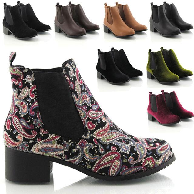 Womens Ladies Vintage Pixie Low Heel Winter Short Chelsea Ankle Boots Size 3-8