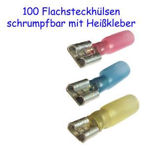 100 Flachsteckhüls<wbr/>en 6,3mm, versch. Varianten möglich, schrumpfbar Heißkleber