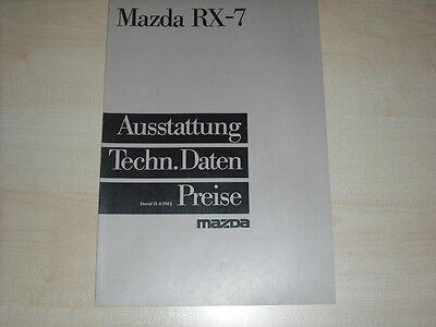 60679) Mazda RX-7 - technische Daten & Ausstattungen - Prospekt 04/1985