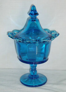 Blue-Glass-Candy-Dish-Bowl-9-5-034-Lidded-Pedestal-Open-Lace-Rim-Edge-FREE-US-Ship