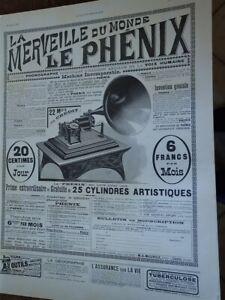LE-PHENIX-phonographe-disque-MALEVILLE-publicite-papier-ILLUSTRATION-1902-col-B