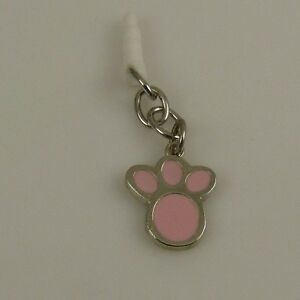 pink-paw-print-dog-theme-cell-phone-charm-ear-cap-dust-plug-fits-ipad-too