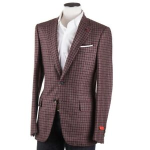 NWT-3995-ISAIA-Raspberry-Brown-Check-Cashmere-Silk-Sport-Coat-36-R-Aquacashmere