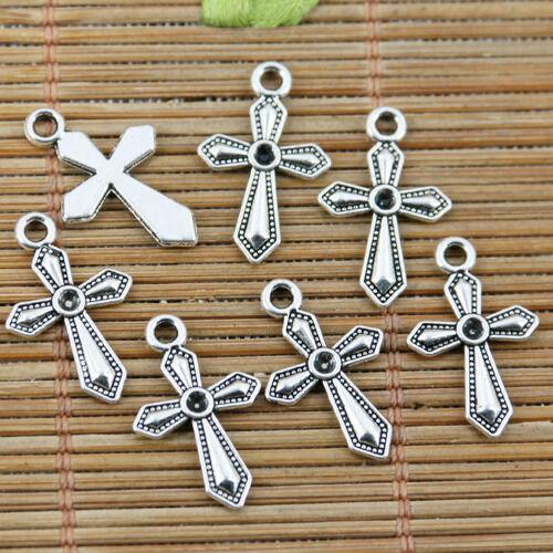 50pcs tibetan silver color cross charms EF2289