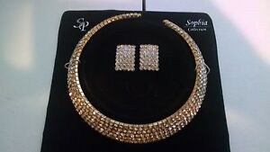 NEW-SOPHIA-COLLECTION-RHINESTONE-GATSBY-CHOKER-SET