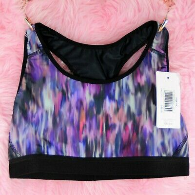 Creative Stretch Nylon Yoga Bra Blue Or Purple Lined Racerback Workout Sports Xs-2xl Women's Clothing Activewear