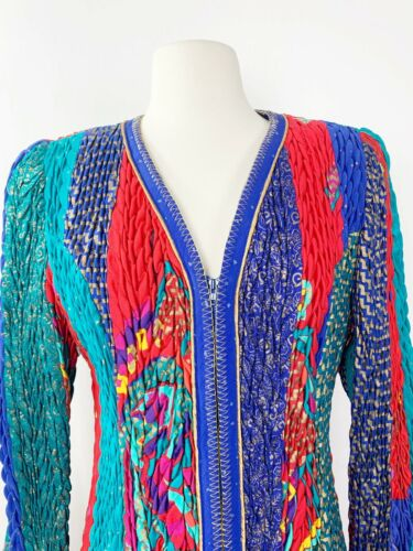 Vintage Jeanne Marc Quilted Jacket Multicolored Zi