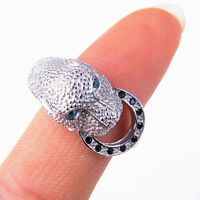 925 Sterling Silver Leopard Head Shaped Circle Crystal Ring Size 4.5-6 H999
