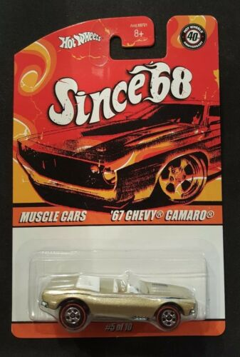 Hot Wheels Since /'68 Muscle Cars /'67 Chevy Camaro #5//10 Gold 40th anniversary