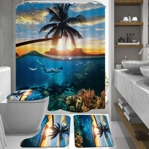 Bathroom-Shower-Curtain-Non-slip-Bath-Mat-Pedestal-Toilet-Seat-Cover-Lid-Rug-Set