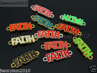 50Pcs Colorful Smooth Metal Faith Bracelet Connector Charm Beads Mixed 10x34mm