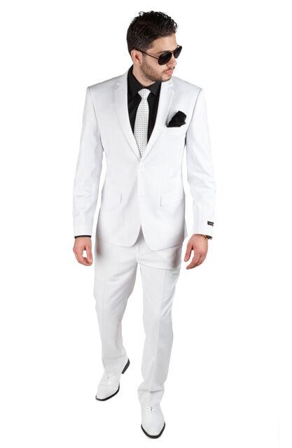 Slim Fit Men Suit 2 Button Solid White Notch Lapel Double Vented By AZAR MAN