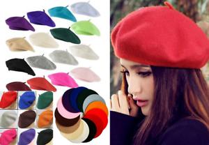 b2038858033 Image is loading Plain-Beret-Hat-Wool-Autumn-Women-Girls-Fashion-