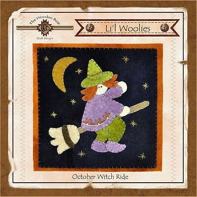 LIL WOOLIES BLOCK OF THE MONTH OCTOBER WITCH RIDE, The Wooden Bear Designs NEW